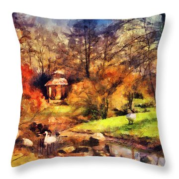 Gazebo In The Park Throw Pillow by Jai Johnson
