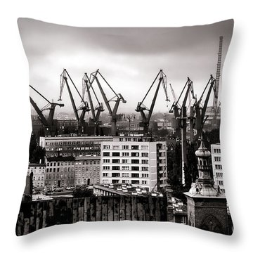 Gdansk Shipyard Throw Pillow by Olivier Le Queinec