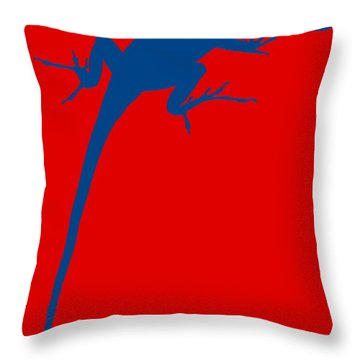 Gecko Silhouette Red Blue Throw Pillow by Ramona Johnston