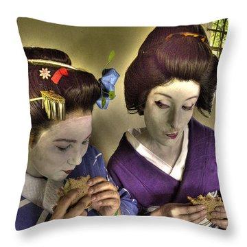 Geisha Lunch Throw Pillow by William Fields