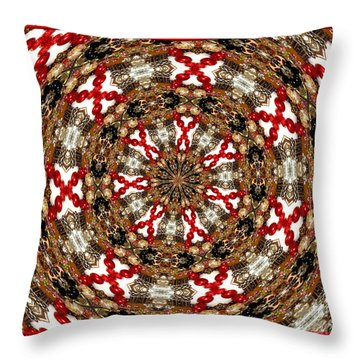 Gemstones And Silver Jewelry Kaleidoscope Throw Pillow by Rose Santuci-Sofranko