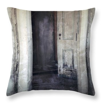 Ghost Girl In Hall Throw Pillow by Jill Battaglia