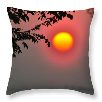 Gilded Sunrise Glow Throw Pillow by Rebecca Sherman