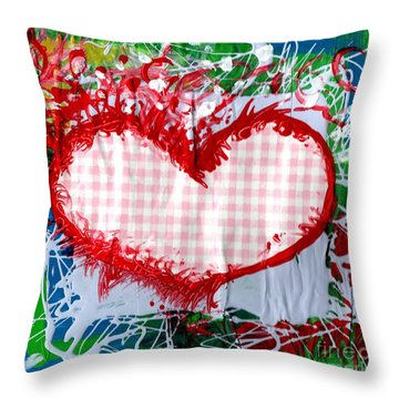 Gingham Crazy Heart Throw Pillow by Genevieve Esson