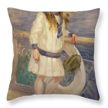 Girl In A Sailor Suit Throw Pillow by Charles Sims