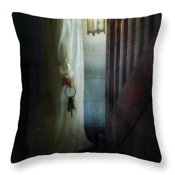Girl On Stairs With Lantern And Keys Throw Pillow by Jill Battaglia