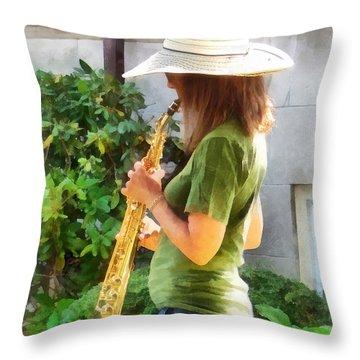Girl Playing Saxophone Throw Pillow by Susan Savad