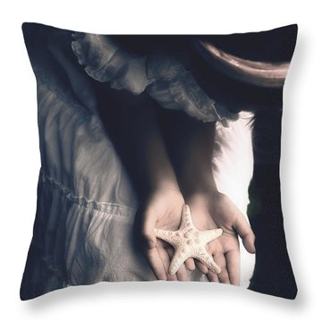 Girl With A Starfish Throw Pillow by Joana Kruse