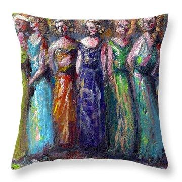 Girls Night Out Throw Pillow by Bernadette Krupa