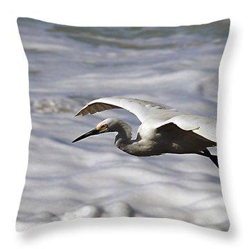 Gliding Egret Throw Pillow by Joe Schofield