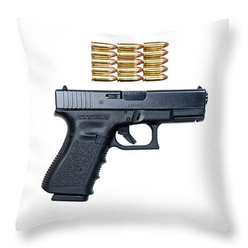 Glock Model 19 Handgun With 9mm Throw Pillow by Terry Moore