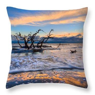 Gold Glitter Throw Pillow by Debra and Dave Vanderlaan