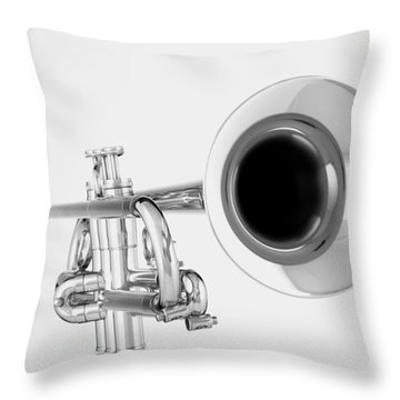 Gold Trumpet Isolated On White Throw Pillow by M K  Miller