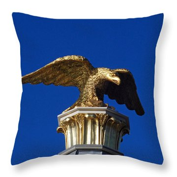 Golden Eagle Throw Pillow by Lisa Phillips