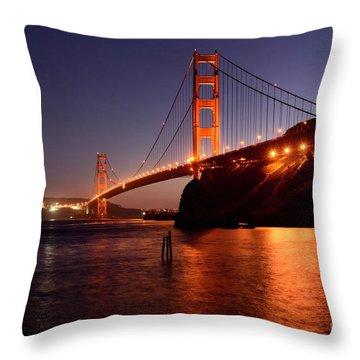 Golden Gate Bridge At Night 2 Throw Pillow by Bob Christopher