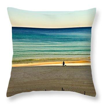 Golden Hour Fishing Throw Pillow by Susan Leggett
