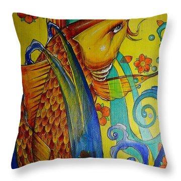 Golden Koi Throw Pillow by Sandro Ramani