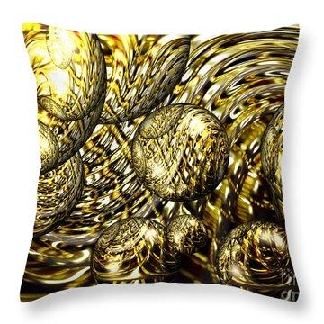 Golden Orbs Throw Pillow by Cheryl Young
