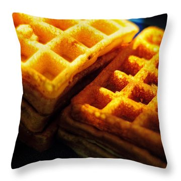 Golden Waffles Throw Pillow by Rebecca Sherman