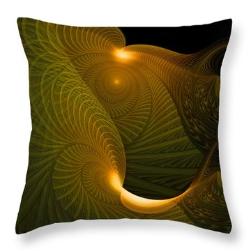Golden Waves Throw Pillow by Amanda Moore