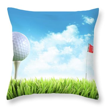 Golf Ball With Tee In The Grass  Throw Pillow by Sandra Cunningham