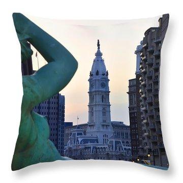Good Morning Philadelphia Throw Pillow by Simon Wolter