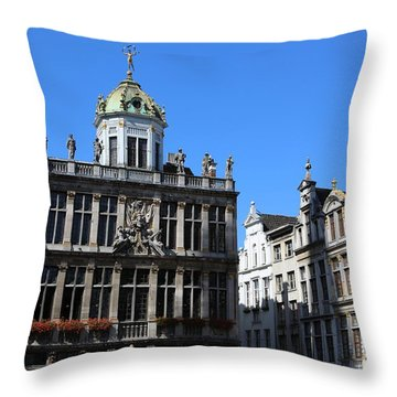 Grand Place Buildings Throw Pillow by Carol Groenen