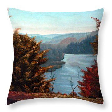 Grand River Look-out Throw Pillow by Hanne Lore Koehler