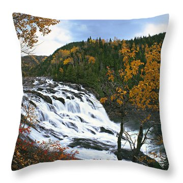 Grand-sault Falls On Madeleine River Throw Pillow by Yves Marcoux