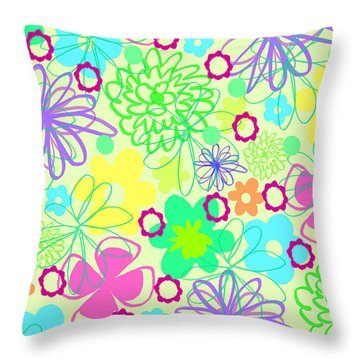 Graphic Flowers Throw Pillow by Louisa Knight
