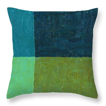 Green And Blue Throw Pillow by Michelle Calkins