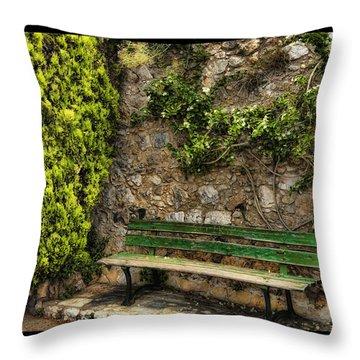 Green Bench Throw Pillow by Mauro Celotti