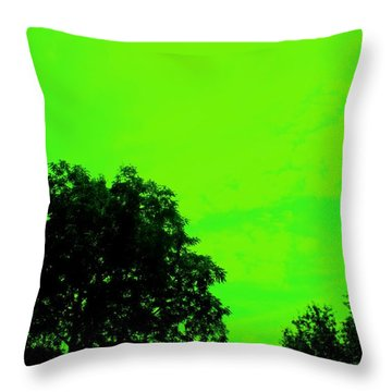 Green Sky 1 Throw Pillow by Michael Grubb