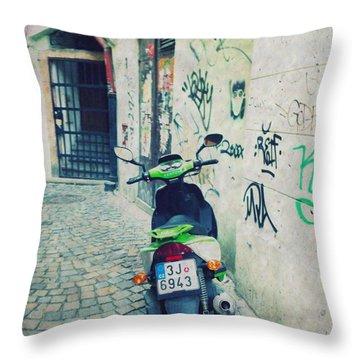 Green Vespa In Prague Throw Pillow by Linda Woods