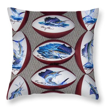 Gridiron Trophies Throw Pillow by Carey Chen