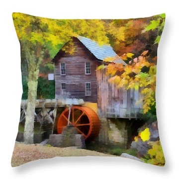 Grist Mill Throw Pillow by Lynne Jenkins