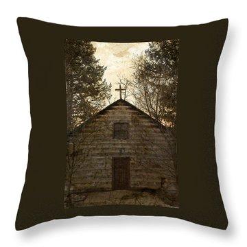 Grungy Hand Hewn Log Chapel Throw Pillow by John Stephens