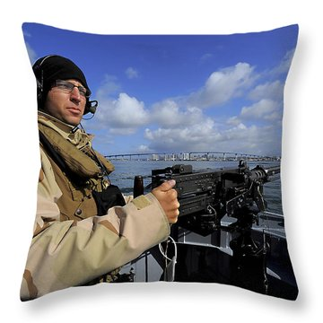 Gunners Mate Mans An M2 Hb .50-caliber Throw Pillow by Stocktrek Images