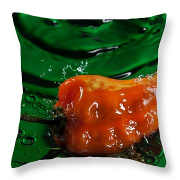 Habanero Pepper Freshsplash 2 Throw Pillow by Steve Gadomski
