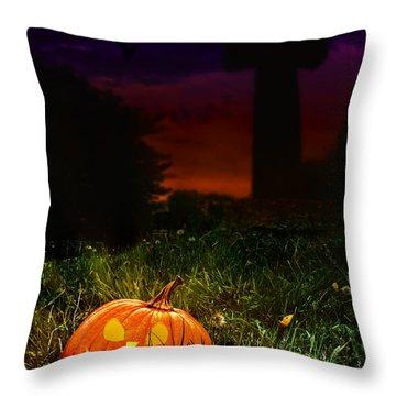 Halloween Cemetery Throw Pillow by Amanda Elwell