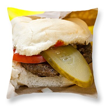 Hamburger With Pickle And Tomato Throw Pillow by Elena Elisseeva