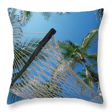 Hammock And Palm Tree, Great Barrier Throw Pillow by Ron Watts