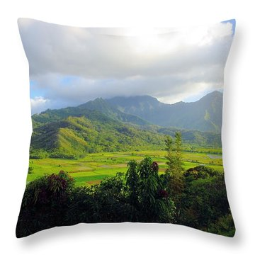 Hanalei Valley View Throw Pillow by John  Greaves
