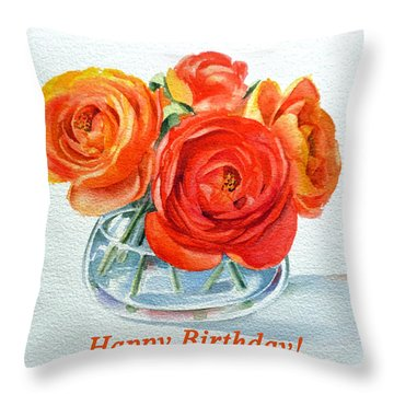 Happy Birthday Card Flowers Throw Pillow by Irina Sztukowski