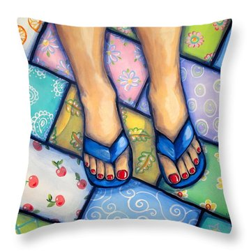 Happy Feet Throw Pillow by Sandra Lett