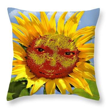 Happy Sunflower Throw Pillow by Susan Leggett