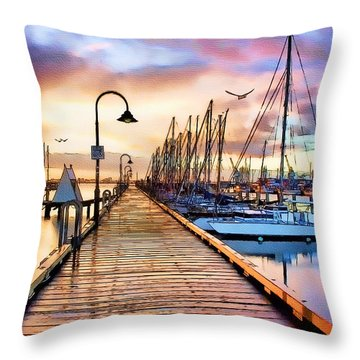 Harbor Town Throw Pillow by Tom Schmidt