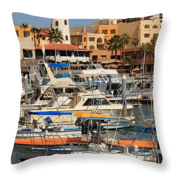 Harbor Waterfront In Cabo San Lucas Throw Pillow by Roupen  Baker