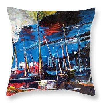 Harbour In Spain Throw Pillow by Miki De Goodaboom