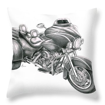 Harley Davidson Trike Throw Pillow by Murphy Elliott